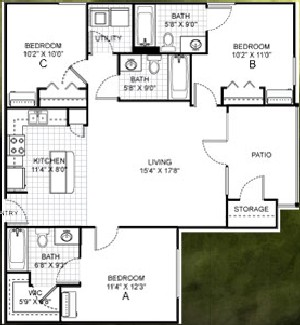 1,182 sq. ft. floor plan