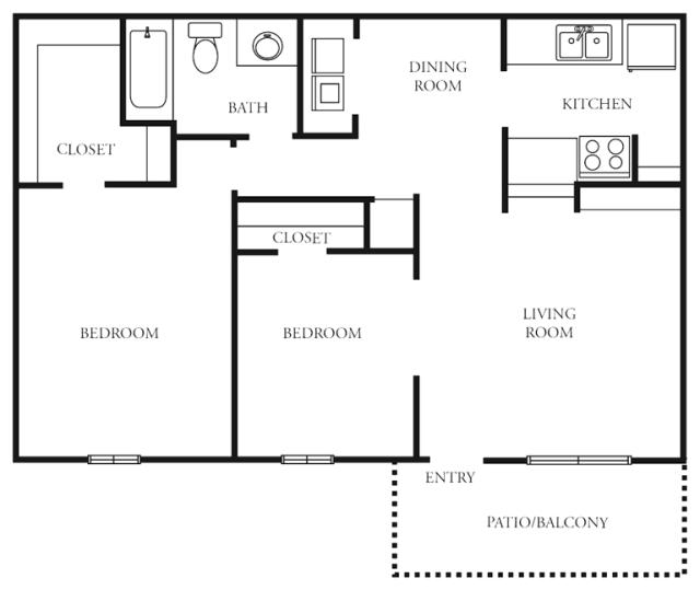 792 sq. ft. to 813 sq. ft. D floor plan