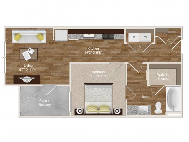 557 sq. ft. E1 floor plan