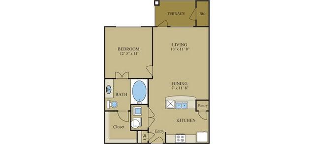 642 sq. ft. Goldenrod floor plan
