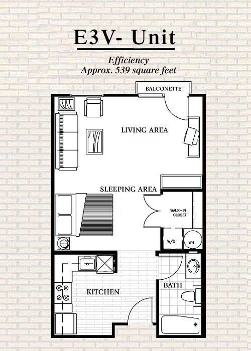 539 sq. ft. to 576 sq. ft. E3 floor plan