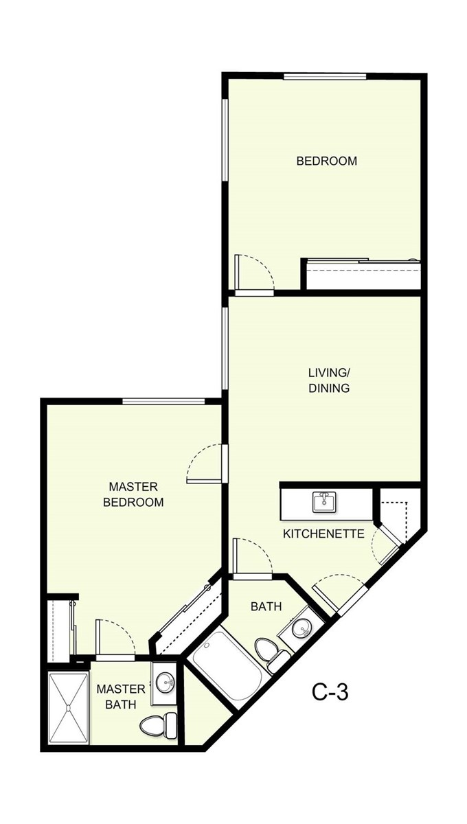 877 sq. ft. C3 floor plan