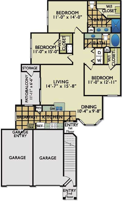 1,353 sq. ft. D1G floor plan