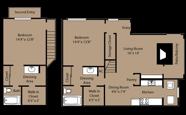 1,105 sq. ft. B3L floor plan