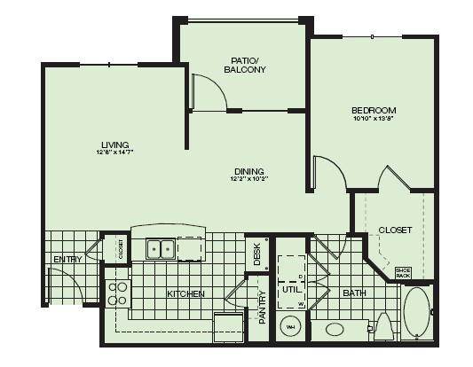 819 sq. ft. Gleneagle floor plan