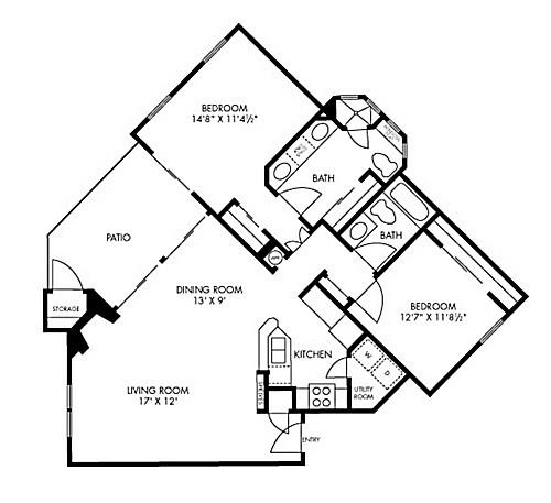 1,083 sq. ft. Sequoia floor plan