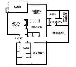 1,221 sq. ft. B2 floor plan