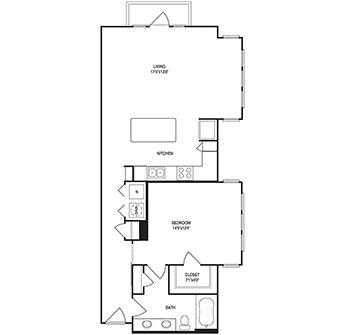 982 sq. ft. floor plan