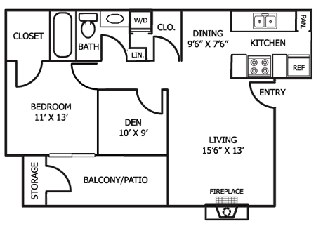 801 sq. ft. D5 floor plan