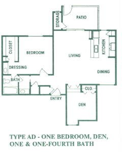 883 sq. ft. AD01 floor plan