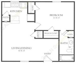 599 sq. ft. B floor plan