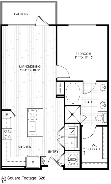 814 sq. ft. A3.3 floor plan