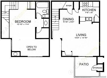 650 sq. ft. D-LOFT floor plan