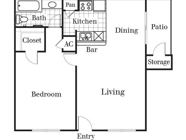 623 sq. ft. A2 floor plan