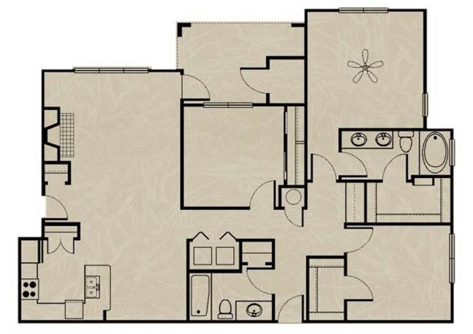 1,368 sq. ft. WNRC2 3X2/ GARAGE floor plan