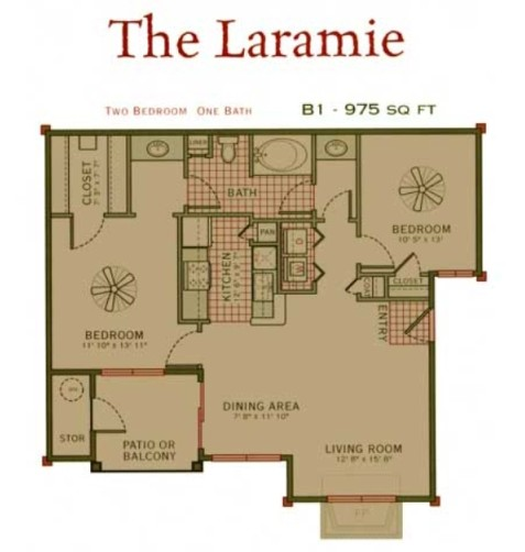 975 sq. ft. Laramie floor plan