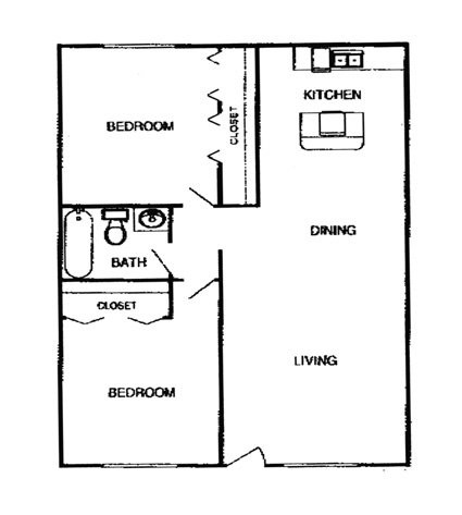 857 sq. ft. B2 floor plan