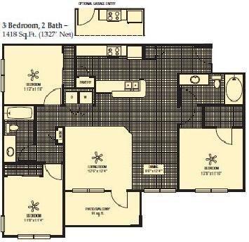 1,327 sq. ft. floor plan