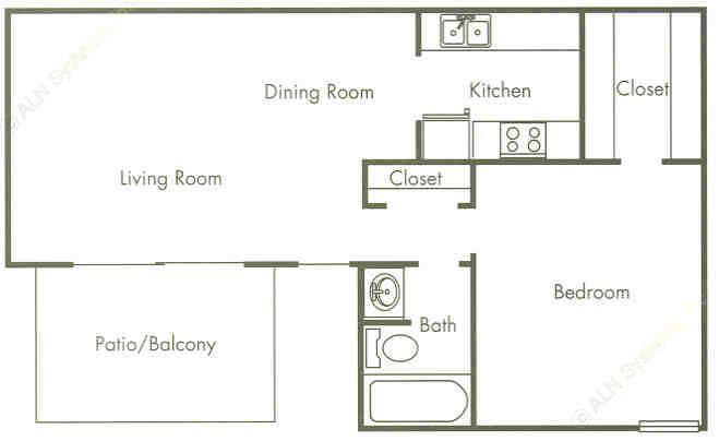 710 sq. ft. 50% floor plan
