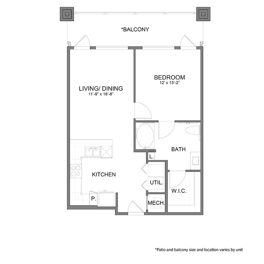 766 sq. ft. A5HC floor plan