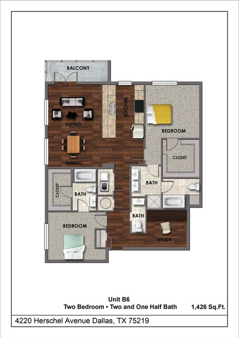 1,426 sq. ft. B6 floor plan