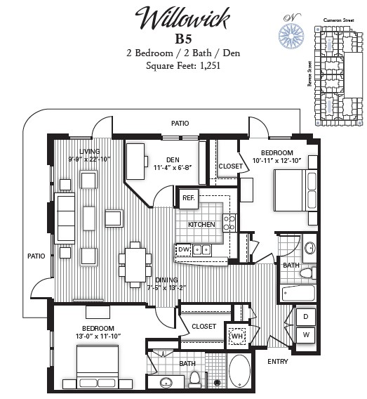 1,251 sq. ft. WILLOWICK floor plan
