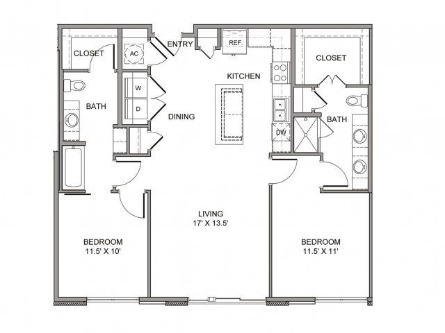 1,163 sq. ft. Akard floor plan