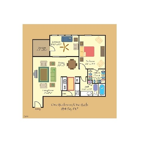 834 sq. ft. A5 floor plan