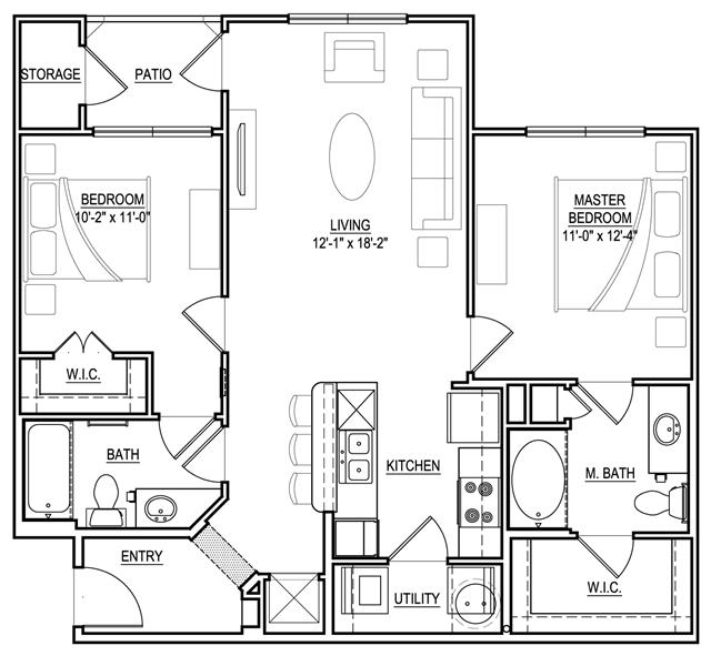 942 sq. ft. B1 floor plan