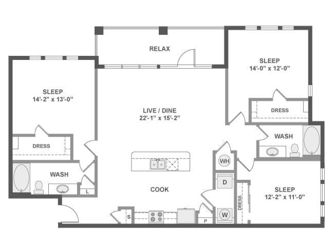 1,541 sq. ft. D6 floor plan