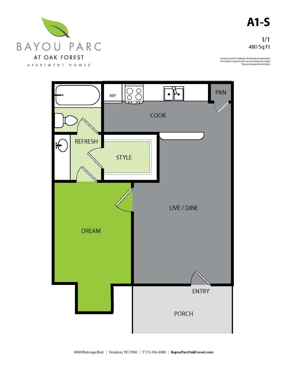 480 sq. ft. A1-s floor plan