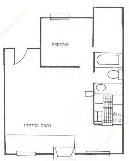 750 sq. ft. A5 floor plan