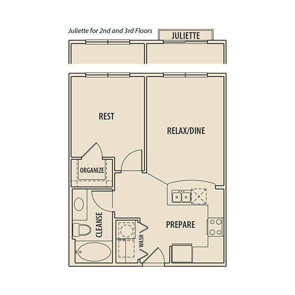 575 sq. ft. AJ floor plan