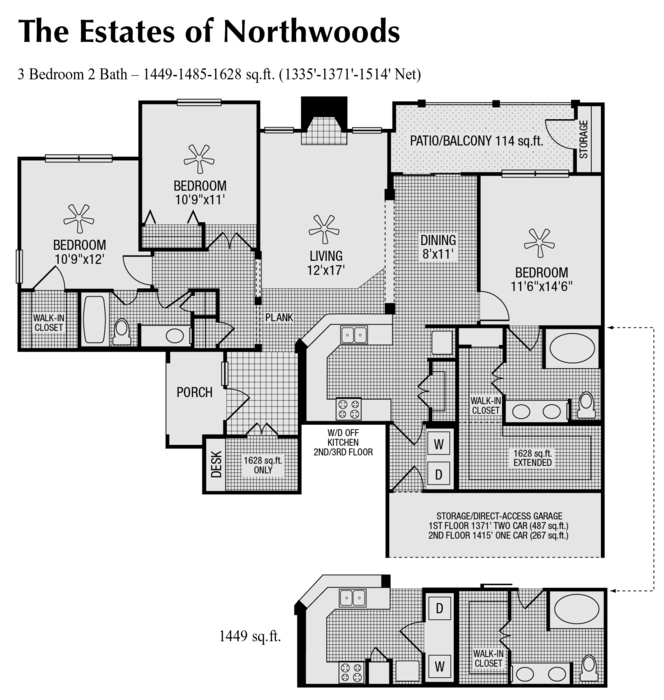 1,371 sq. ft. to 1,462 sq. ft. O floor plan