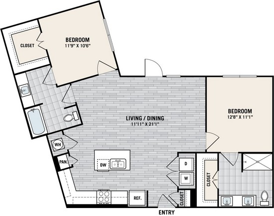 1,118 sq. ft. B4 floor plan