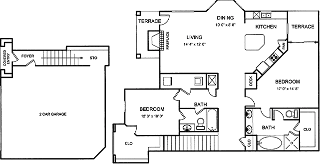 1,390 sq. ft. floor plan