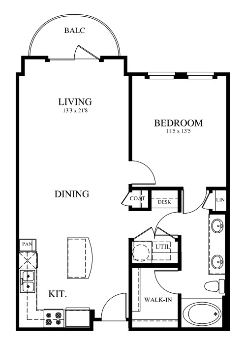 821 sq. ft. A1 floor plan