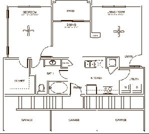 840 sq. ft. Eastgate floor plan