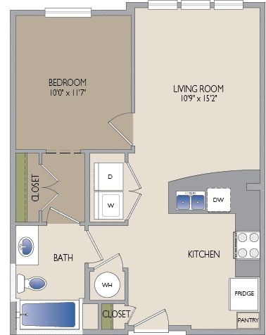 622 sq. ft. Kirby floor plan