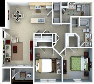 1,019 sq. ft. Cinnamon floor plan