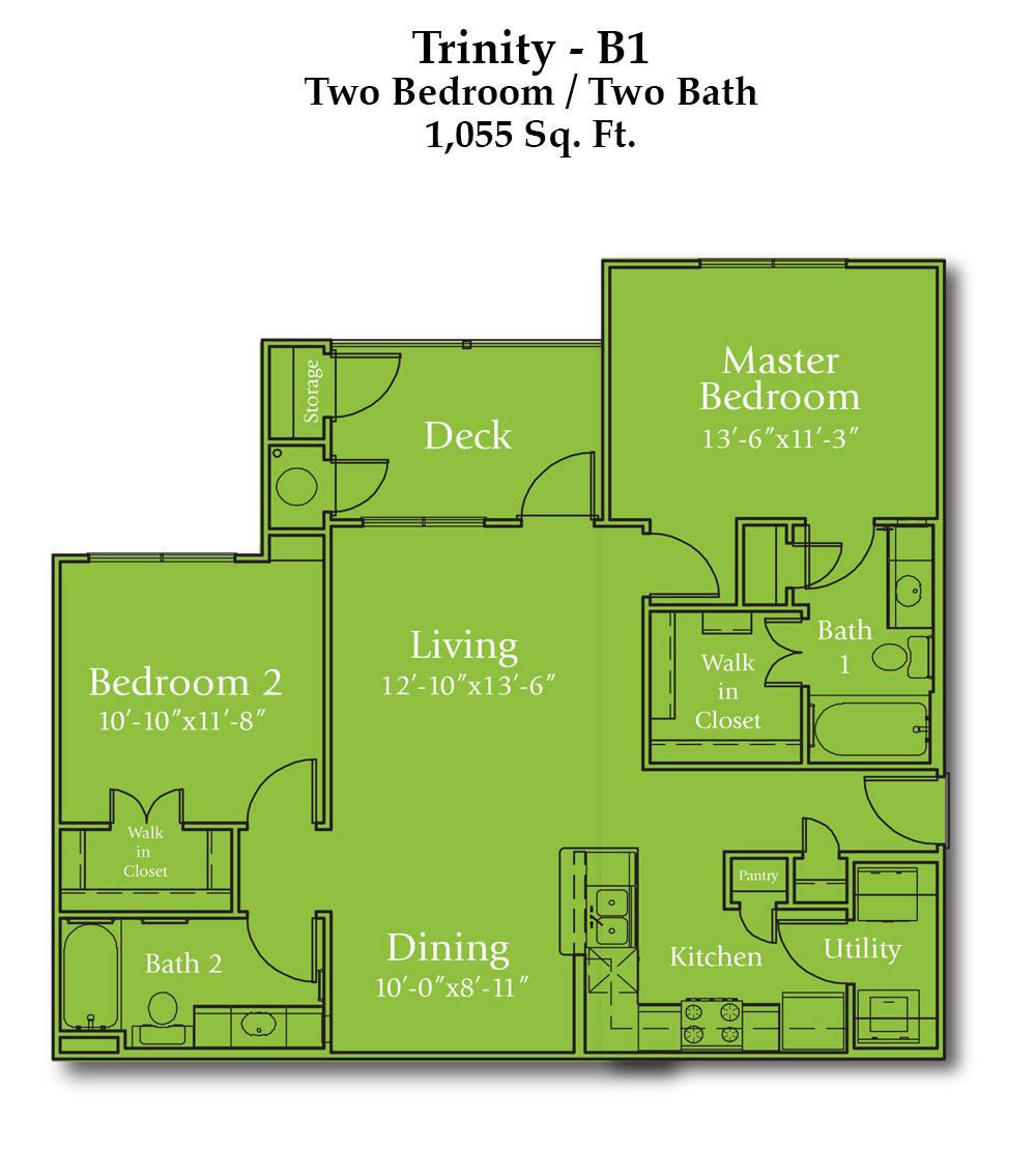 1,055 sq. ft. Trinity floor plan