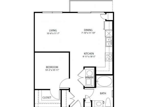696 sq. ft. A1-A PH3 floor plan