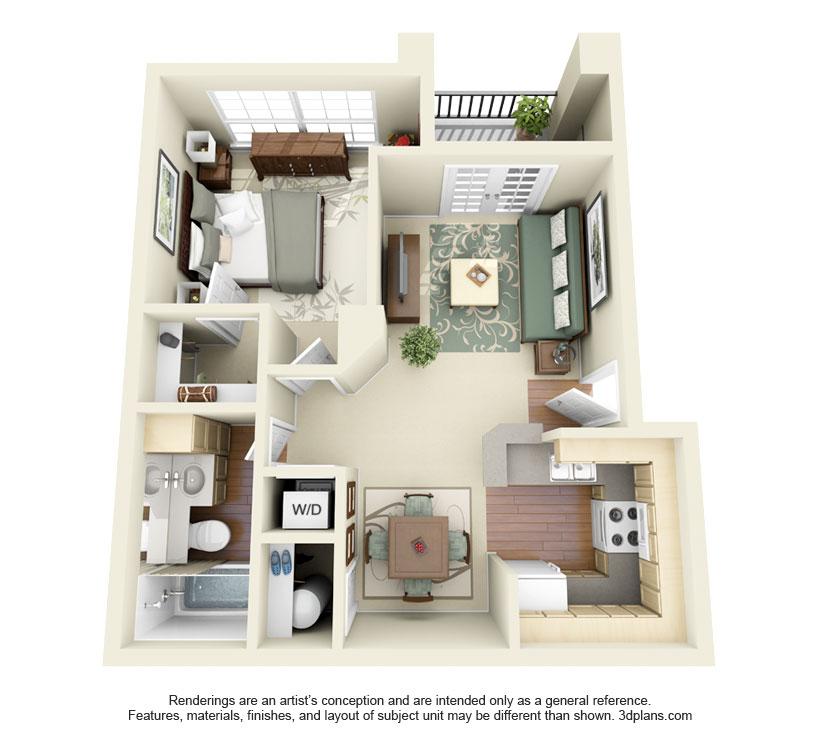 603 sq. ft. Austin floor plan