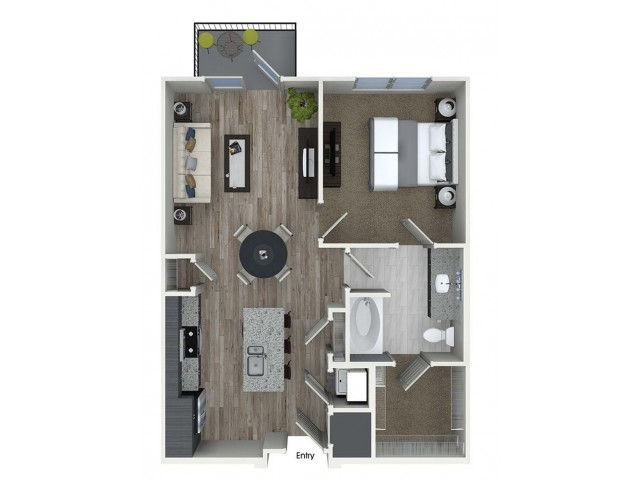 716 sq. ft. A3 floor plan