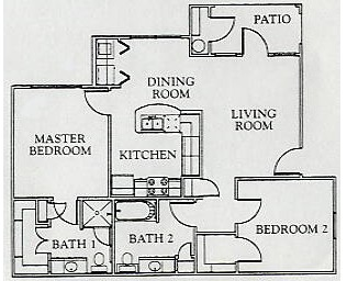 937 sq. ft. Mkt floor plan