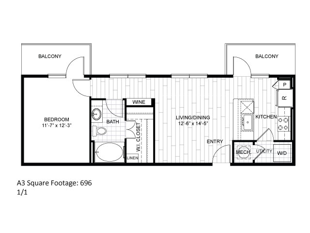 696 sq. ft. A3 floor plan