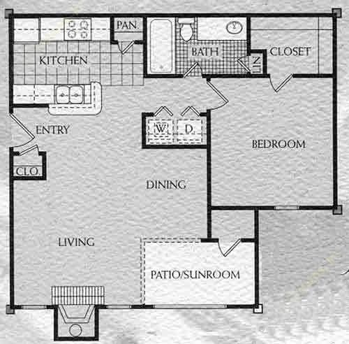 775 sq. ft. Riverstone floor plan