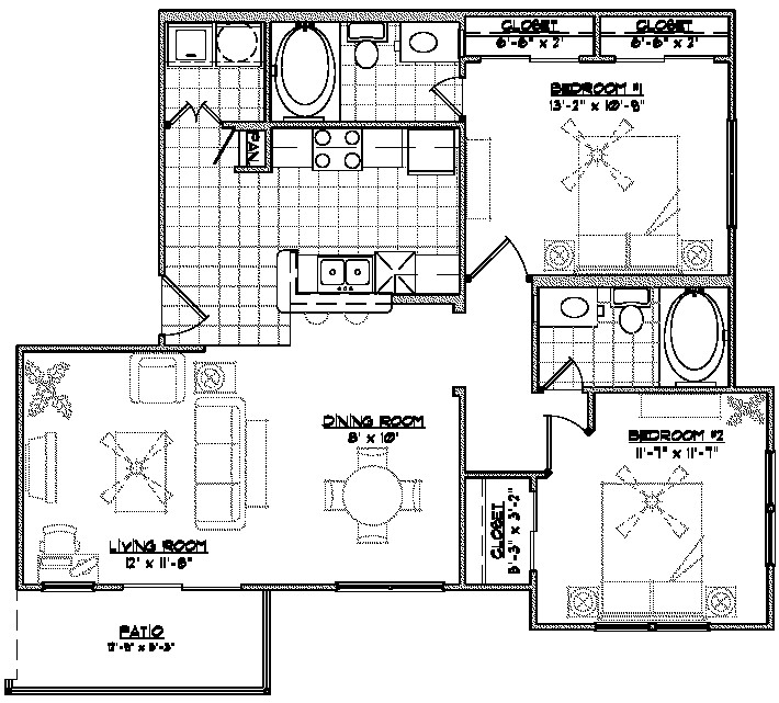 1,040 sq. ft. THB floor plan