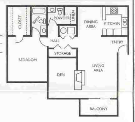 934 sq. ft. Chairman floor plan