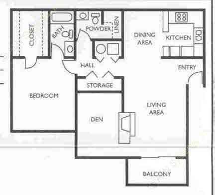 934 sq. ft. Chairman floor plan
